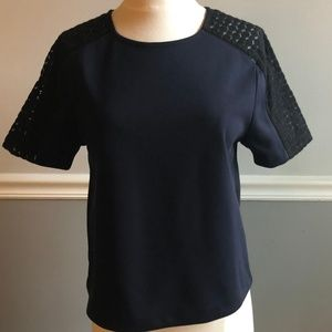 Ann Taylor Navy and Black Lace Shoulder Top
